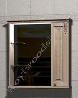 """Шкаф-зеркало для ванной с подсветкой """"Челси-2 УОРВИК-85R береза"""" из массива (правая дверка)"""