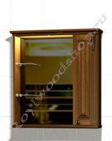 """Зеркальный шкаф для ванной """"Челси-2 УОРВИК-85R орех"""" из массива (правая дверка)"""