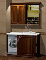 """Комплект для ванной под встроенную стиральную машину """"Челси-2 КОМБИ-L орех"""" с зеркалом-шкафом"""