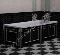 """Экран для ванны """"Руссильон PROVENCE складной черный с серебром"""" в закрытом виде"""